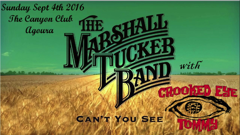 CROOKED EYE TOMMY OPENS FOR MARSHALL TUCKER – Sept 4th